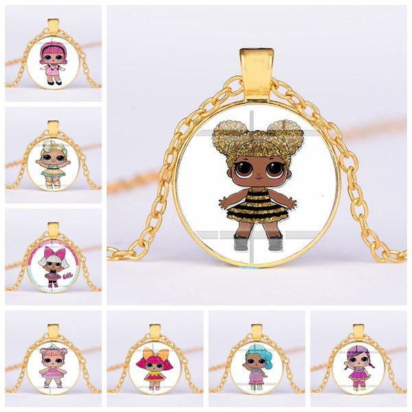 32styles Surprise Girls Necklace 25mm Cartoon Pendant Time Gem Jewelry Cute Characters Sweater Chains Accessories Kids Gifts AAA2075