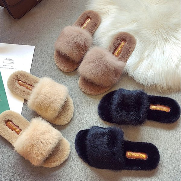 xiniu Women Indoor Fur Slippers Warm Platform Shoes Woman Slip On Soft Flats Casual Floor Slipper Women Home Shoes #0703