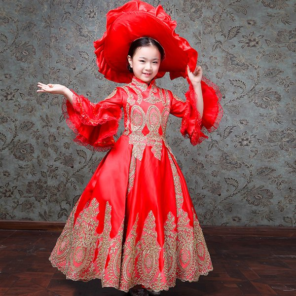 Customized 2019 Autumn Children Red Blue Marie Antoinette Dress Medieval Gold Appliques Evening Party Gowns Costumes
