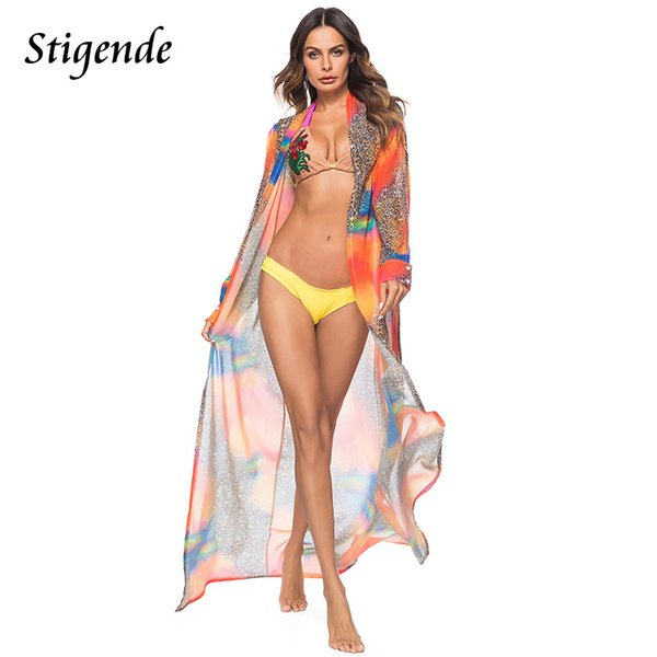 Stigende Full Sleeve Floral Print Open Long Trench Women Chiffon Summer Beach Wear Tunic Tops Boho Style Cardigan Cover Wear