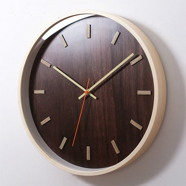 Relógio de Quartzo de madeira de 14 polegadas Relógio Quieto Casa Decoração Moderna Pendurado Relógio circular Sala de estar Quarto Simples