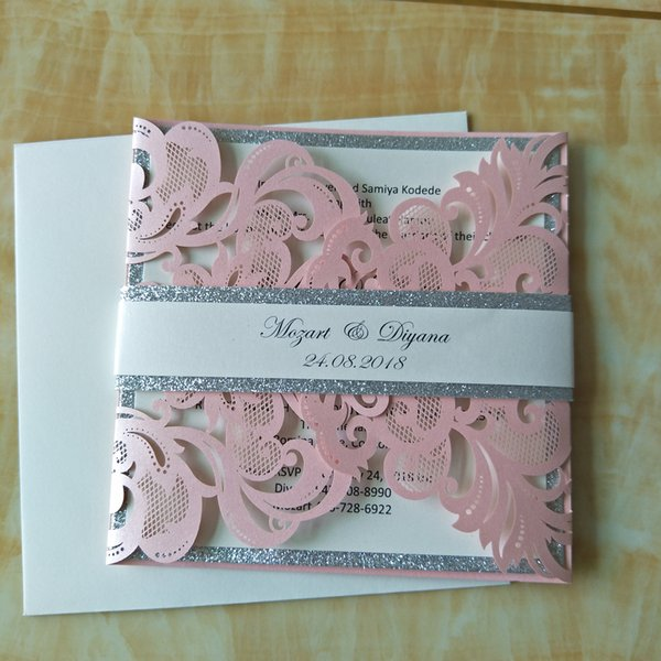 Pink Pearl Laser Cut Silver Button Wedding Invites With Glittery Belly Band Diy Handmade Invitation Suite Free Printing Chinese Wedding Invitation