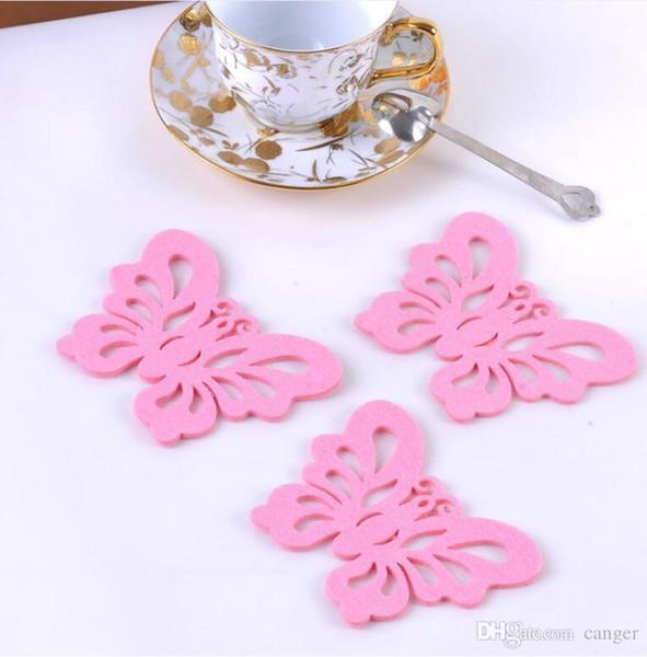 Atacado- 2 pçs / lote Crochet Doilies lkea Design itens inovadores sentiu tigelas de isolamento Mat Coasters Placemats borboleta forma Cup # S383