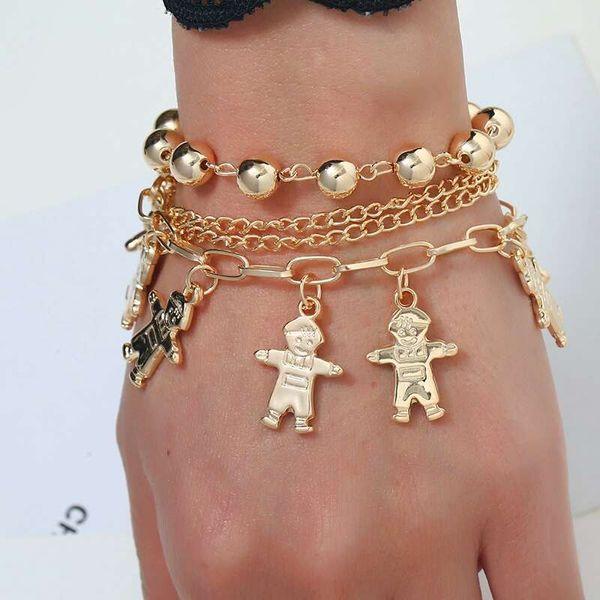 4 in 1 alloy beads cartoon boy charm link chains for women western Punk hot sale luxury chain bracelet girl gifts fashion bracelets jewelry
