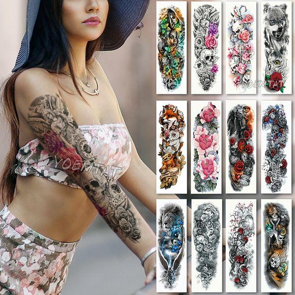 Letras Para Tatuagem Grande Manga Braço Tatuagem Tatuagem Temporária à Prova D água Etiqueta Crânio Anjo Rosa Lotus Homens Flor Cheia Tatoo Body Art