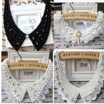 Vintage collier de perles en dentelle noire collier ras de cou collier faux accessoires de vêtements pour femmes doux