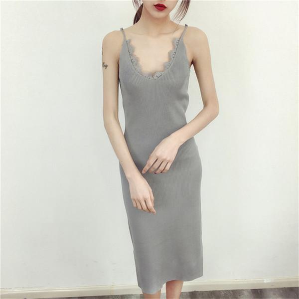 Новые женщины Спагетти ремень платья Split V-образным вырезом Кружева Лоскутная Трикотажное платье без рукавов дамы Bodycon Танк платье Vestidos P022