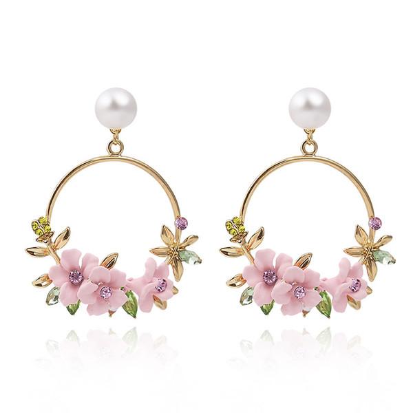 1 Paire Personnalité Argile Polymère Sakura Bordure Décorative Circulaire Strass Perle Femmes De Luxe Balancent Boucles D'oreilles