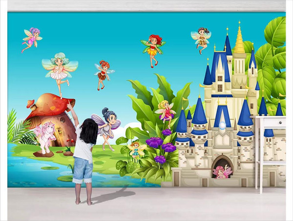 Custom 3d photo murals wall paper home decor Simple romantic castle palace fairy mushroom house children's room background wall
