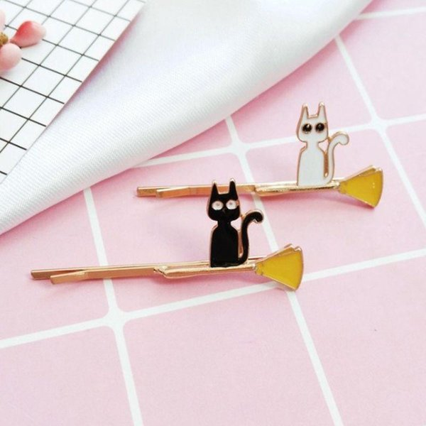 Jewelry factory wholesale cartoon magic Xiao Ying small black cat animation cat simple fashion hairpin