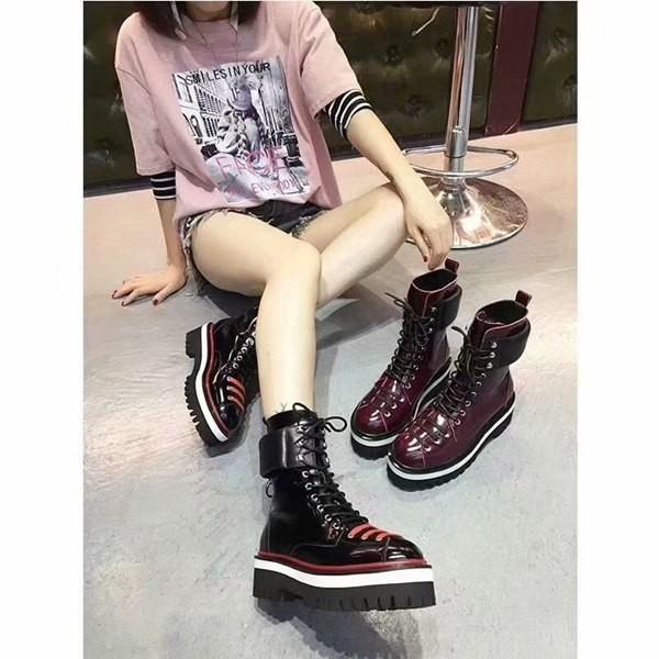 Hot ! New arrival girls lace-up high Luxury Designer boots female students women casual boots ladies Stage girls flat heel shoes