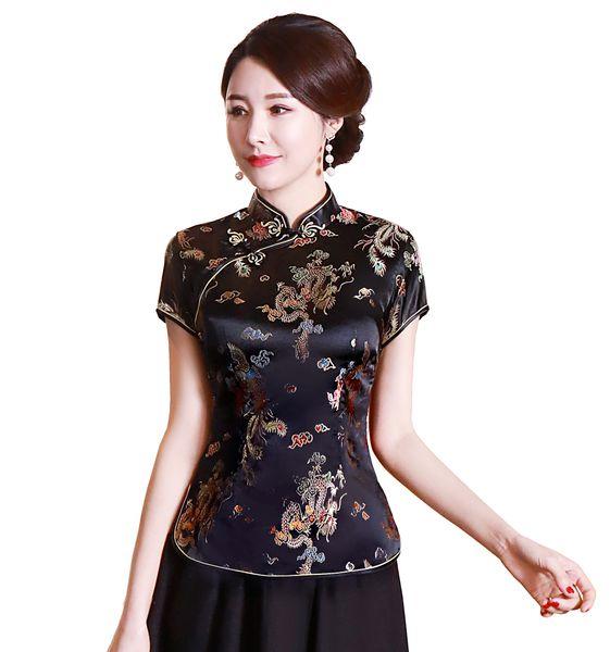 Shanghai histoire chinoise Qipao top traditionnel faux soie / satin Haut dragon Chine femmes chinois et phénix blouse shirt chinois qipao