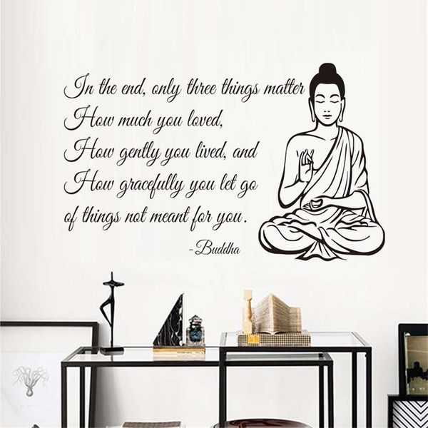 1 Pcs Wall Decals Only Three Things Matter Yoga Gym Decor Buddha Quote Buddhism Letters Home Decoration DIY Wall Art Mural