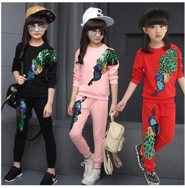 Spring Autumn Girls Tracksuit peacock Sequined Long Sleeve Sweatshirt + Pants Kids 2 Pieces Girls Sport Suit Kids Teens Clothes