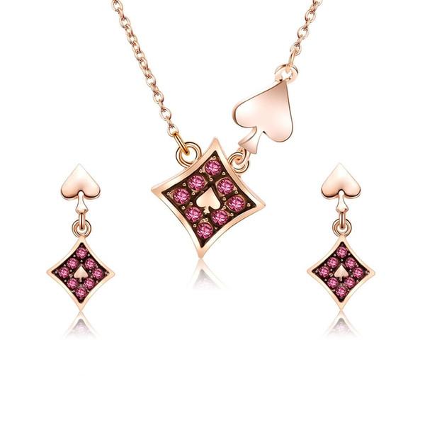 Le donne di colore dell'oro del fiore del cuore di forma di strass di vetro borda i set di gioielli collana orecchini catena per le donne festa di nozze