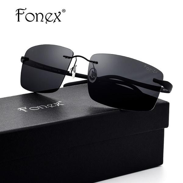 Luxary-FONEX Rimless Sunglasses Men Titanium TR90 Polarized Sunglass Square Ultralight Sun Glasses for Men Screwles Eyewear Oculos 8203