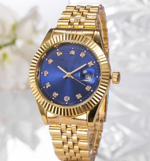 2019 Top Selling Luxury New Brand Men Watch Gold Stainless Steel Blue Dial Wristwatch Male Quartz Watches Double Calendar Wrist watch