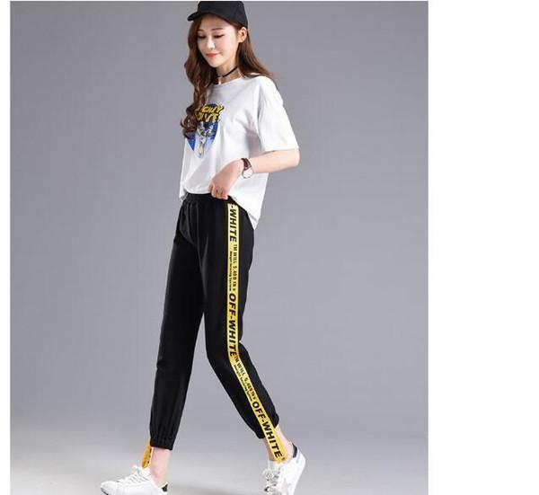 Moda-Sonbahar Güz Mektup Yan şerit Pantolon Kadın M-2XL Gevşek Elastik Bel Kadın Pantolon Yaz Hip Hop Giysileri Kore Pantolon S18101605