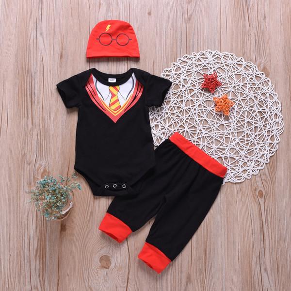 dernière conception bébé garçon été barboteuse enfants bébé cravate lunettes modèle formelle soirée soirée usure 3pcs vêtements avec chapeau pour tenues