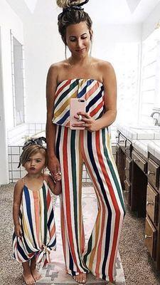Strapless Mother Daughter Dresses Outfits Family Matching Clothes Sleeveless Rainbow Striped Mommy And Daughter Matching Clothes Y19051103