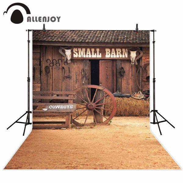 Studio Backgrounds Allenjoy background wooden barn wheel cowboy straw vintage photographic background for photo studio photocall vinyl ...