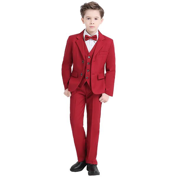 2019 Red Boys Formale AnlässeTuxedos Kerbe Revers Zwei Tasten Center Vent Kinder Hochzeit Smoking Kind Anzug (Jacke + Hose + Fliege + Weste)
