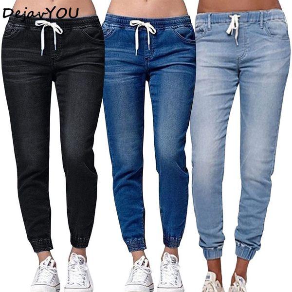 top popular 2018 New Autumn Lantern Pencil Pants Vintage mid Waist drawstring Jeans Womens denim Pants Full Length Loose casual 2020