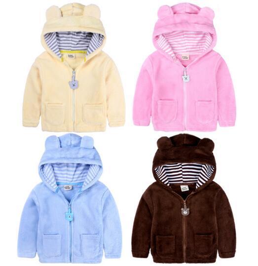 Neonato sveglio della ragazza del cappotto dei vestiti spessore caldo cachemire di disegno dell'orso del cappotto con cappuccio a maniche lunghe Zipper bambini caldo inverno outwear i vestiti dei capretti