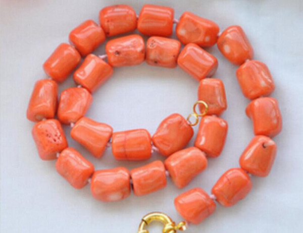 necklace Free shipping ++++905 original baroque cylinder pink coral necklace