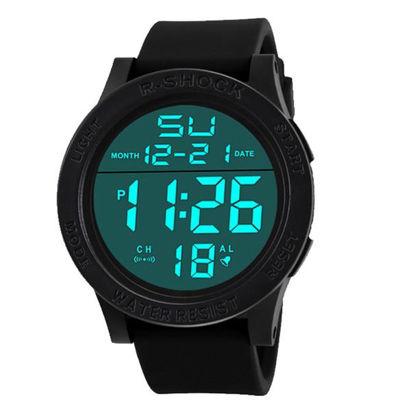 Yeni Lüks İzle Erkekler Moda Su Geçirmez erkek Boy LCD Dijital Kronometre Tarihi Kauçuk Spor Bilek İzle Relogio
