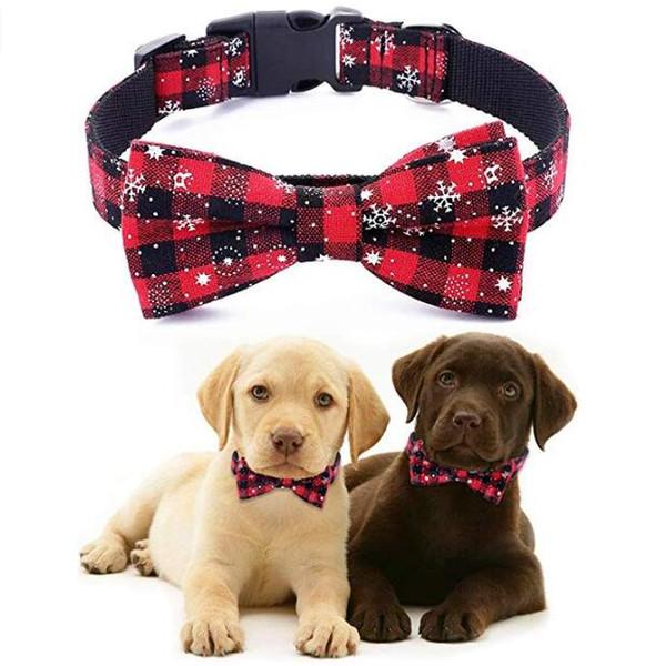 Collar de perro de Navidad con la pajarita ajustable de algodón de nylon de Navidad del copo de nieve collar de perro del handmad para los regalos Grande Medio Pequeño Perros Navidad