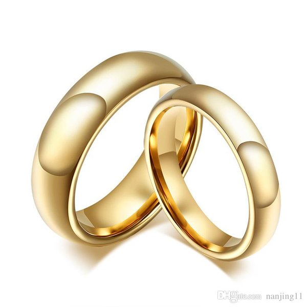 Nouveau carbure de tungstène Anneaux de mariage pour un couple de couleur d'or pour les femmes Hommes CTR-011 Vintage Bijoux Lover