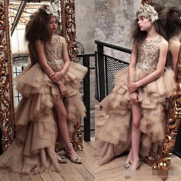 2019 hallo-lo tüll schichten mädchen festzug dress spitze appliques jewel neck kurze blume mädchen kleider kinder formale kleid