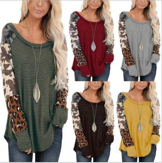 best selling Women Spring Fall O-neck Long Sleeve Leopard Patchwork Blouse Lady Casual Clothing Top Shirt