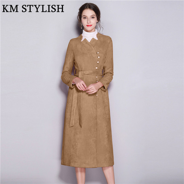 2019 Early Spring New Women's Windbreaker Elegant Pearl Beading Buckle Slim Commuter Suede Long section Large Swing OL Trench