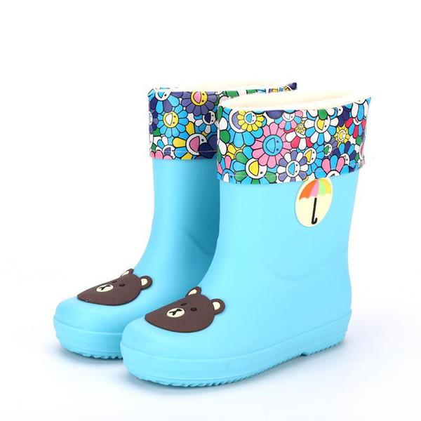 Nouveaux Bottes de pluie en caoutchouc Enfants Garçons Rainboot Bébés filles Waterproof Boot Pvc chaud enfants Chaussures eau Cartoon Four Seasons amovible