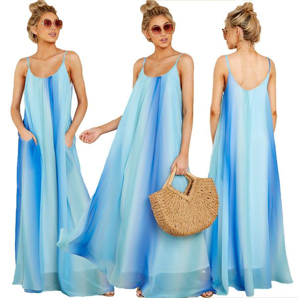 Kadın Şifon Uzun Elbise Kadın Spagetti Kayışı Mavi Plaj Boho Elbiseler Tatil Giyim