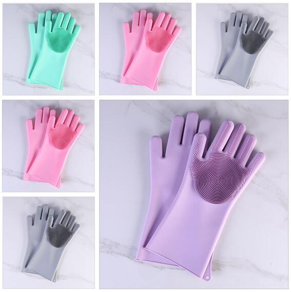 Limpieza de guantes Magic Silicone Kitchen Tools Scrubber Rubber Dusting Dish Dish Pet Care Grooming Hair Care Kitchen Helper Regalos