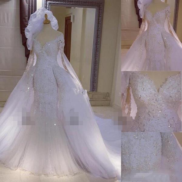 2019 Vintage Full Lace Wedding Dresses Beaded Mermaid Detachable Train with Long Sleeves Dubai Arabic Kaftan Style Over Skirt Bridal Gowns