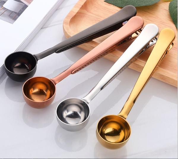 Cucchiaino per caffè in acciaio inox, Cucchiaio dosatore per caffè macinato con clip per sigillo di borsa. Oro rosa argento nero, 3 pezzi