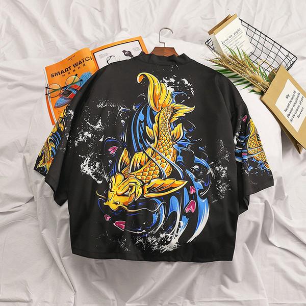 Sommer Japan Style Herren Kimono Shirt Schwarz Strickjacke Plus Size Harajuku Kimono Vintage Streetwear Freizeithemd Herrenmode DA077