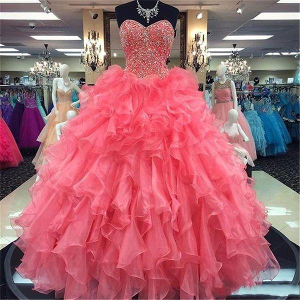 Chérie perles robe de bal Robes de bal Princesse Coral Ruffled Organza Robes de Quinceanera 16 Sweet Girls Party Para Vestidos Formatura
