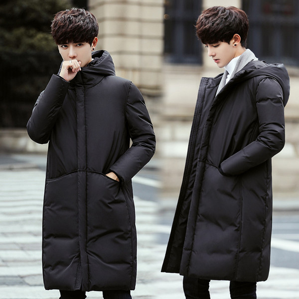 plus size men's cotton coat autumn and winter casual black hooded mid-length thick warm jacket more size 3xl