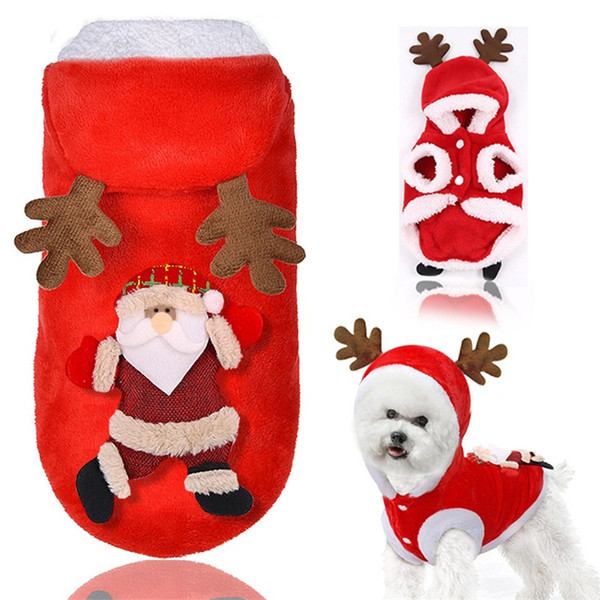 Autumn And Winter Dog Coats With Hats Flannel Elk Santa Claus Cat Jackets Keep Warm Pet Christmas Clothing 10gg E1