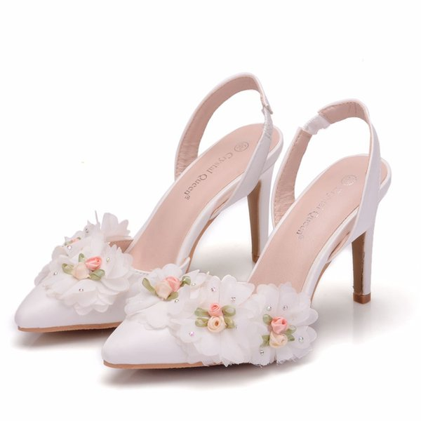 Crystal Queen White Lace Flower Bridal Wedding Shoes Fine Pointed Bride Dress Shoes High heel 10cm Two Type Women Sandals Pumps
