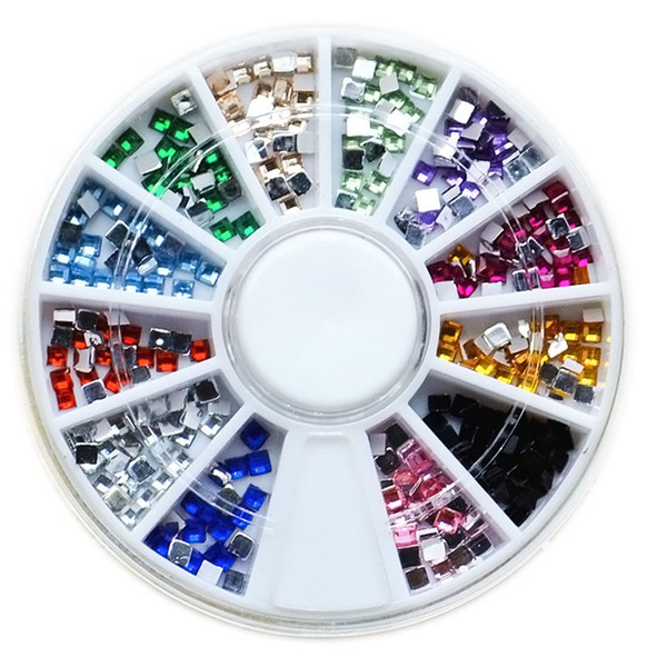 best selling 12 Colors 3D Metal Square Flatback Shiny Glitter Rhinestones Crystal Gem Wheel DIY Nail Art Decorations Phone Jewelry Tips Tools