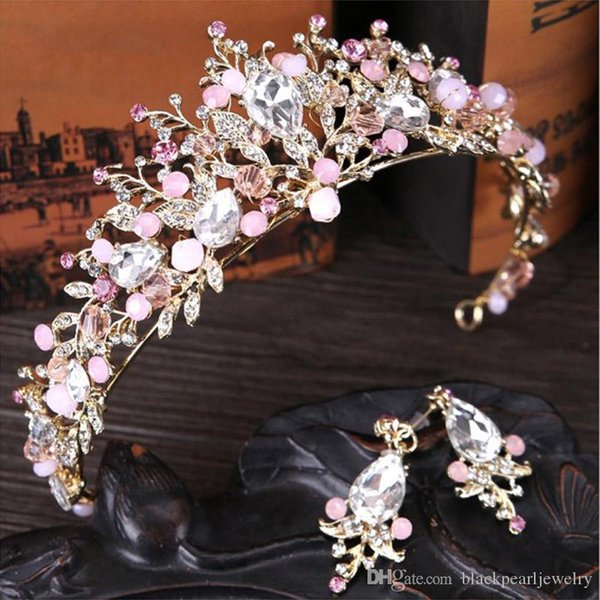 8 Colors Elegant Beautiful Silver Bridal Wedding Tiaras and Crowns women pearl Bride Tiaras Hair Headdress Ornaments