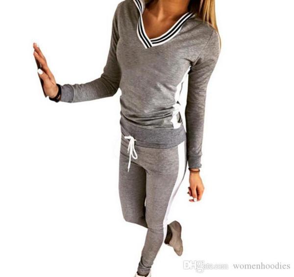 1f1151f3cad9 2019 New Tracksuit Women Sport Suit Hoodie Sweatshirt+pant Jogging Femme Marque  Survetement Sportswear 2pc Set #9076