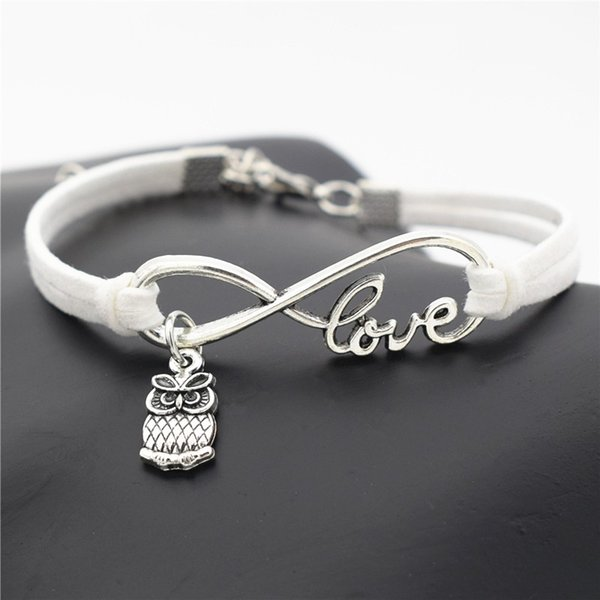 White Leather Hemp Suede Woven Friendship Charm Bracelet & Bangles Unique Fashion Infinity Love Cute Animal Owls Women Men Best Gift Jewelry