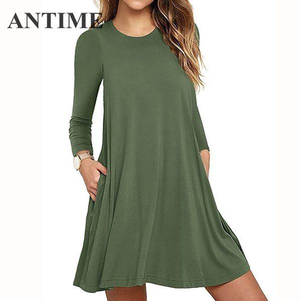 Compre Antime Vestido Corto Para Mujer Una Línea Sólido Manga Larga Casual Elegante Verde Militar Del Ejército Mini Plisados Cortos Con Bolsillos A
